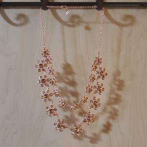 Sparkley Rose Gold Floral Statement Necklace